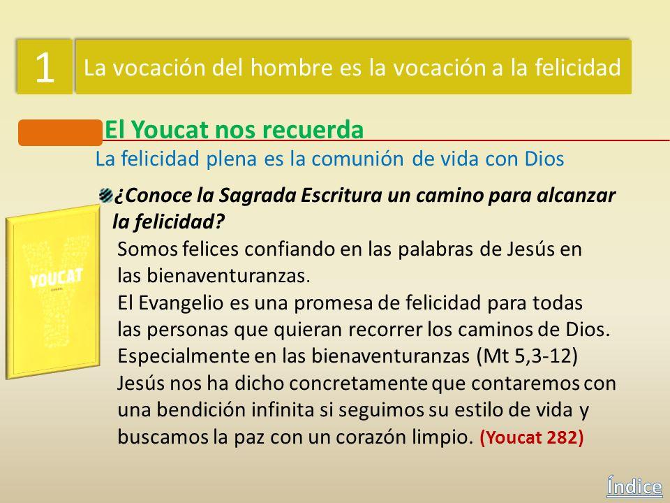 1 1 La vocación del hombre es la vocación a la felicidad El Youcat nos recuerda La felicidad plena es la comunión de vida con Dios ¿Por qué anhelamos