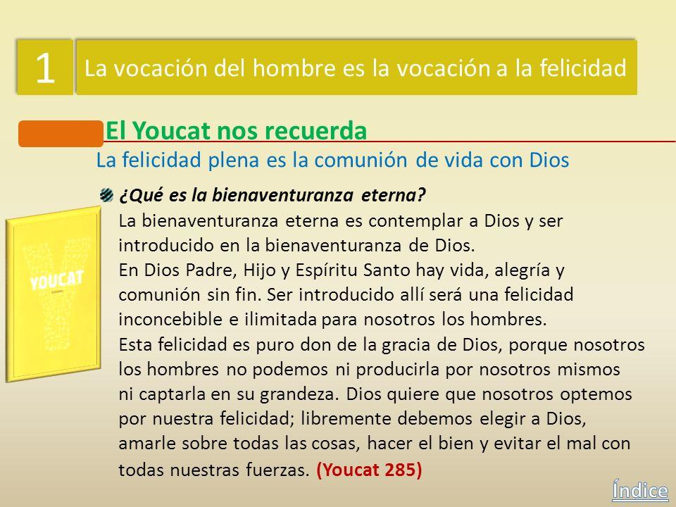 1 1 La vocación del hombre es la vocación a la felicidad El Youcat nos recuerda La felicidad plena es la comunión de vida con Dios ¿Conoce la Sagrada