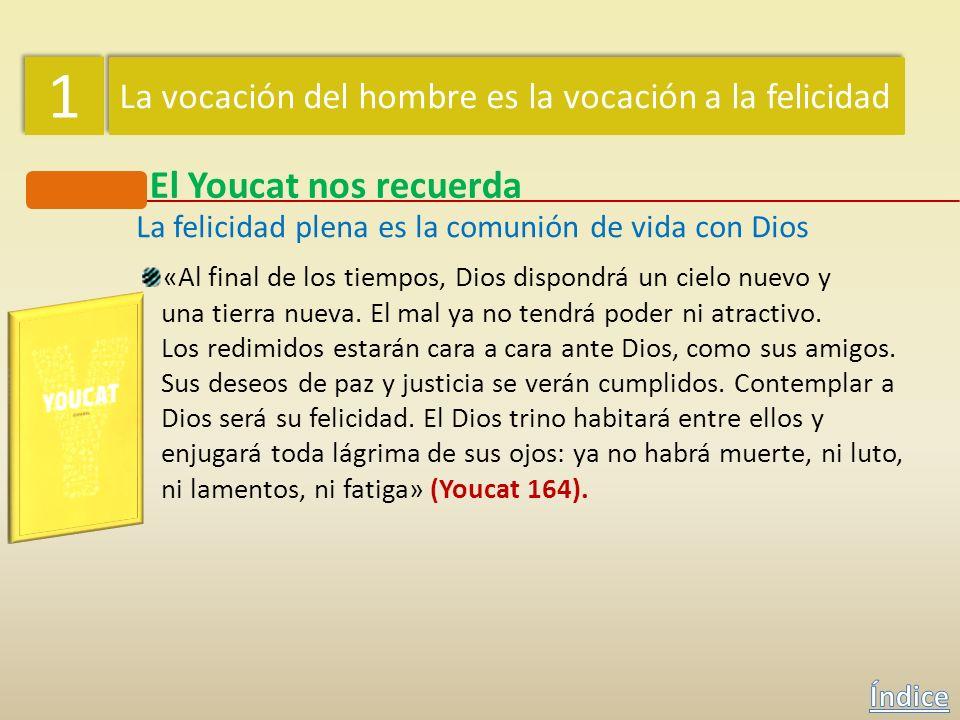 1 1 La vocación del hombre es la vocación a la felicidad El Youcat nos recuerda La felicidad plena es la comunión de vida con Dios «Para el ser humano