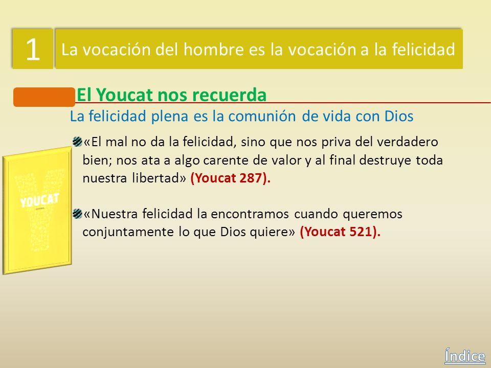 1 1 La vocación del hombre es la vocación a la felicidad El Youcat nos recuerda La felicidad plena es la comunión de vida con Dios «Al final de los ti