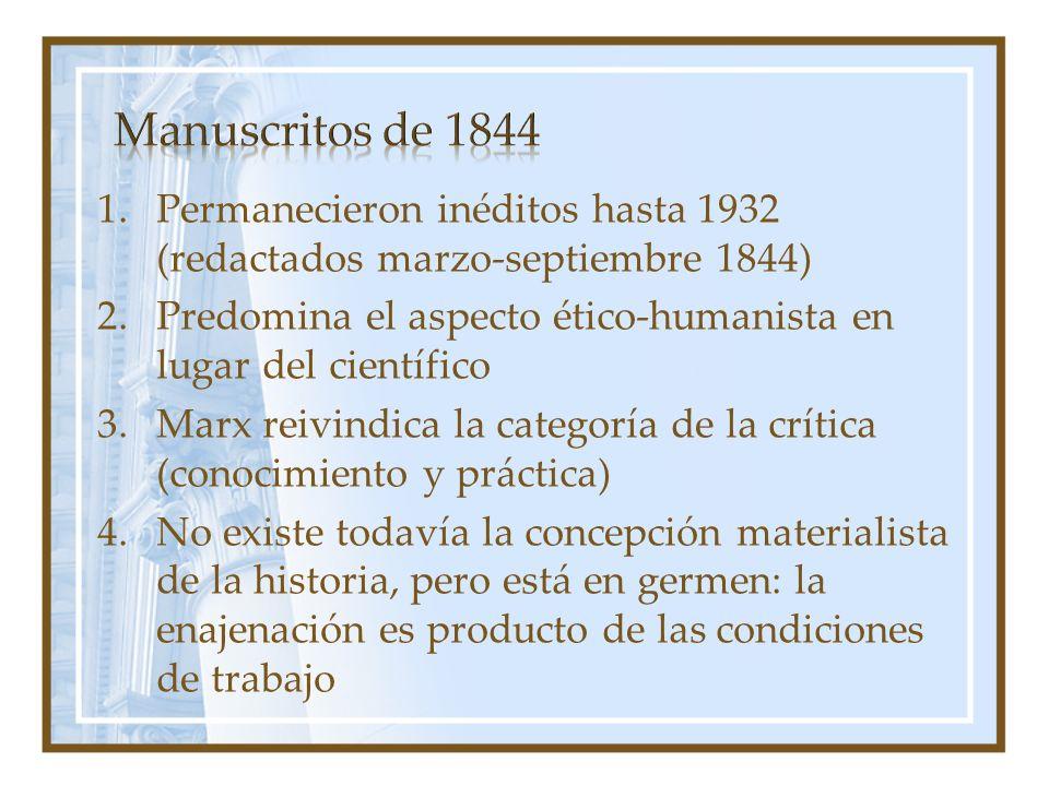 1.Permanecieron inéditos hasta 1932 (redactados marzo-septiembre 1844) 2.Predomina el aspecto ético-humanista en lugar del científico 3.Marx reivindic
