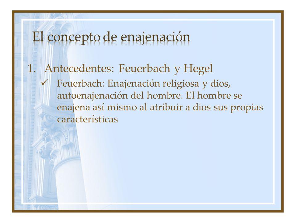 1.Antecedentes: Feuerbach y Hegel Feuerbach: Enajenación religiosa y dios, autoenajenación del hombre. El hombre se enajena así mismo al atribuir a di