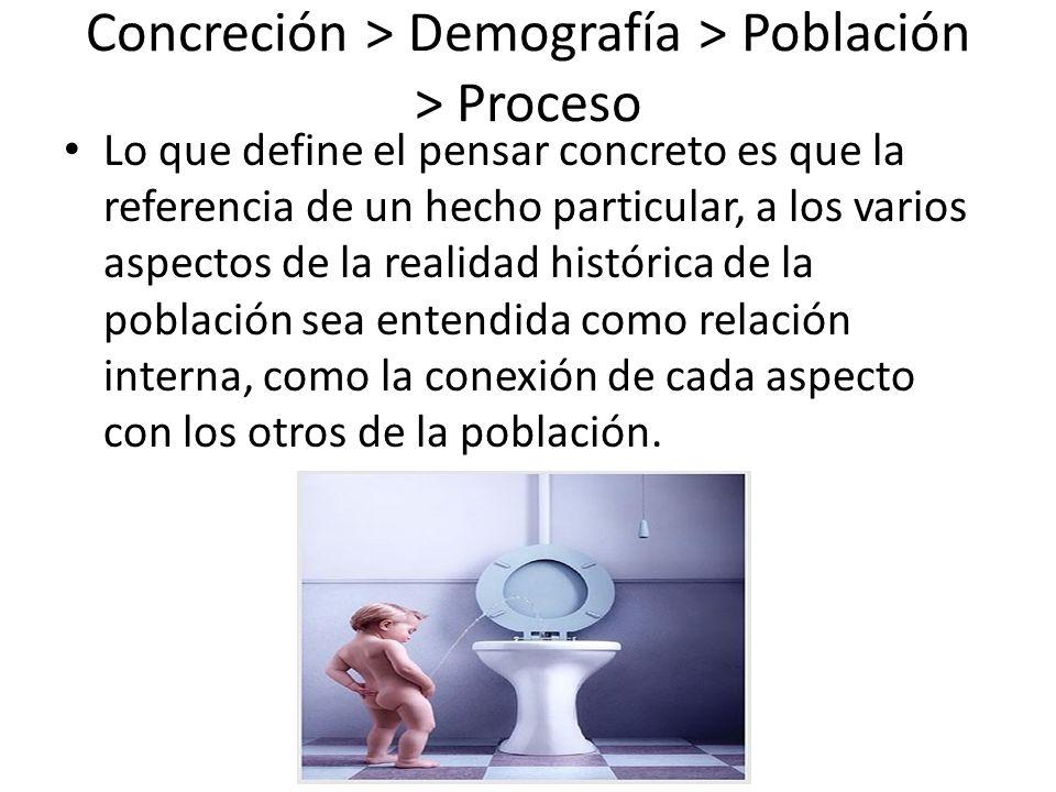 Concreción > Demografía > Población > Proceso Lo que define el pensar concreto es que la referencia de un hecho particular, a los varios aspectos de l