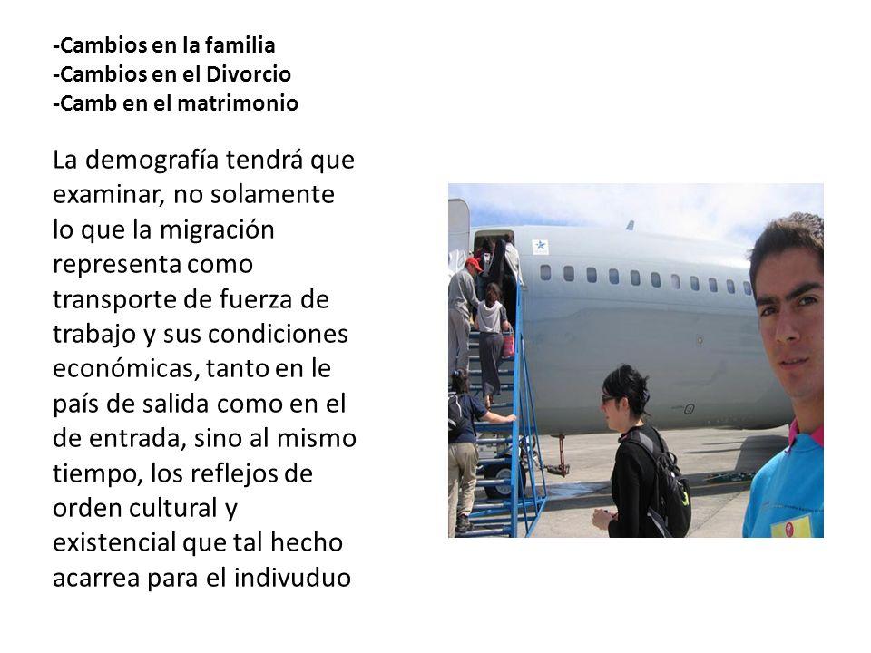 -Cambios en la familia -Cambios en el Divorcio -Camb en el matrimonio La demografía tendrá que examinar, no solamente lo que la migración representa c