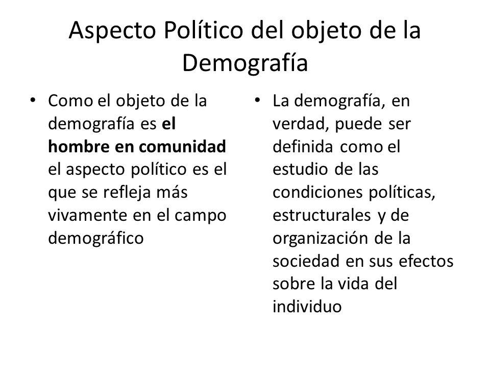 Aspecto Político del objeto de la Demografía Como el objeto de la demografía es el hombre en comunidad el aspecto político es el que se refleja más vi