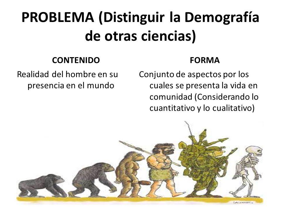 PROBLEMA (Distinguir la Demografía de otras ciencias) CONTENIDO Realidad del hombre en su presencia en el mundo FORMA Conjunto de aspectos por los cua