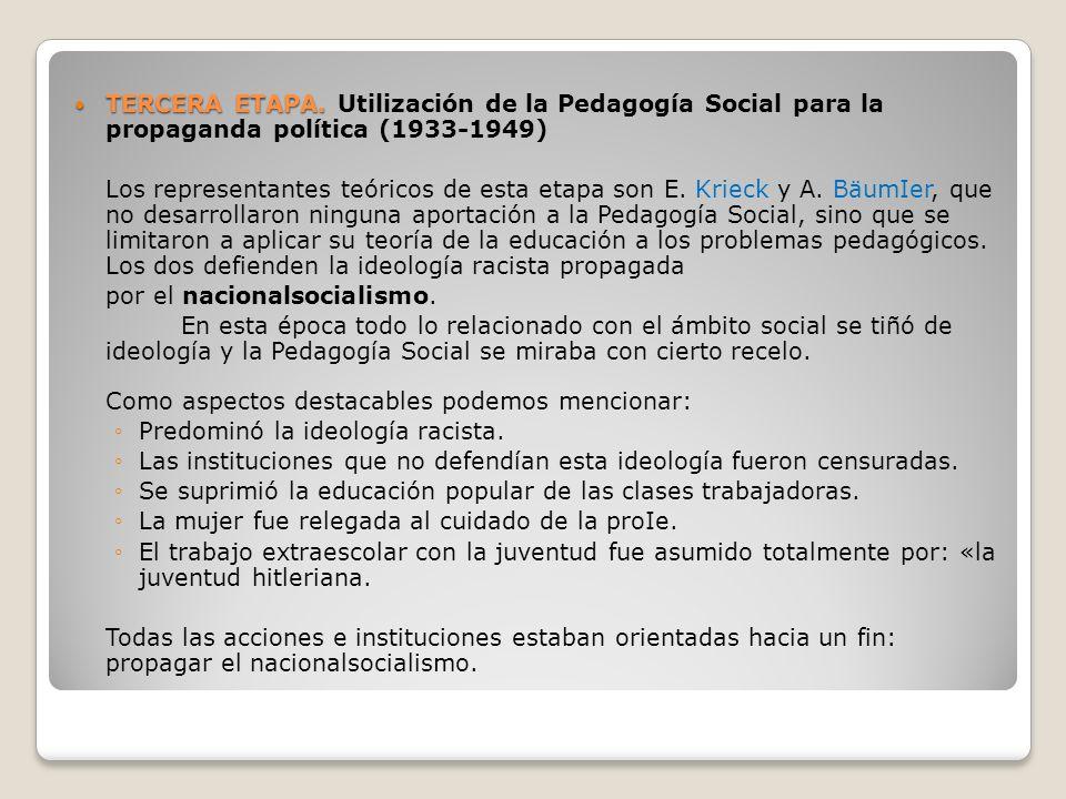 TERCERA ETAPA. TERCERA ETAPA. Utilización de la Pedagogía Social para la propaganda política (1933-1949) Los representantes teóricos de esta etapa son
