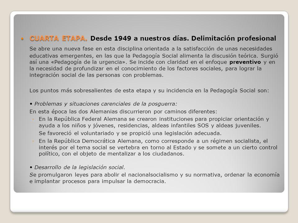 CUARTA ETAPA. CUARTA ETAPA. Desde 1949 a nuestros días. Delimitación profesional Se abre una nueva fase en esta disciplina orientada a la satisfacción