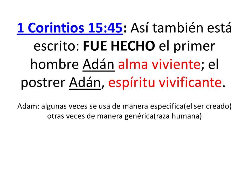 1 Corintios 15:451 Corintios 15:45: Así también está escrito: FUE HECHO el primer hombre Adán alma viviente; el postrer Adán, espíritu vivificante. Ad