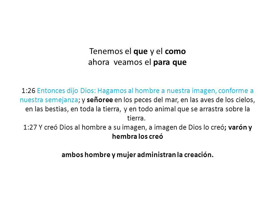 Tenemos el que y el como ahora veamos el para que 1:26 Entonces dijo Dios: Hagamos al hombre a nuestra imagen, conforme a nuestra semejanza; y señoree