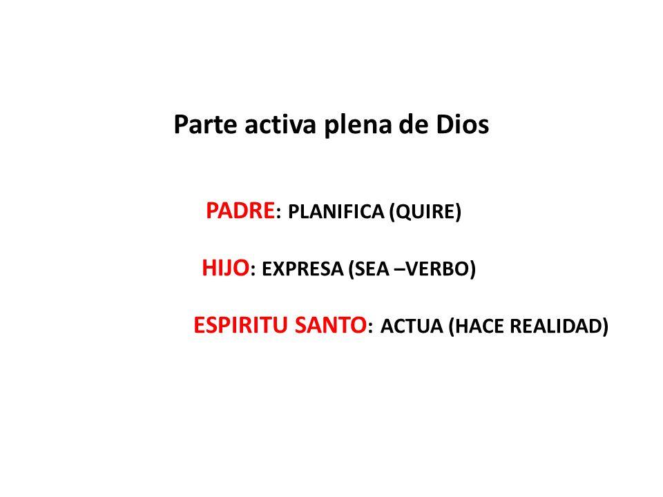 Parte activa plena de Dios PADRE : PLANIFICA (QUIRE) HIJO : EXPRESA (SEA –VERBO) ESPIRITU SANTO : ACTUA (HACE REALIDAD)