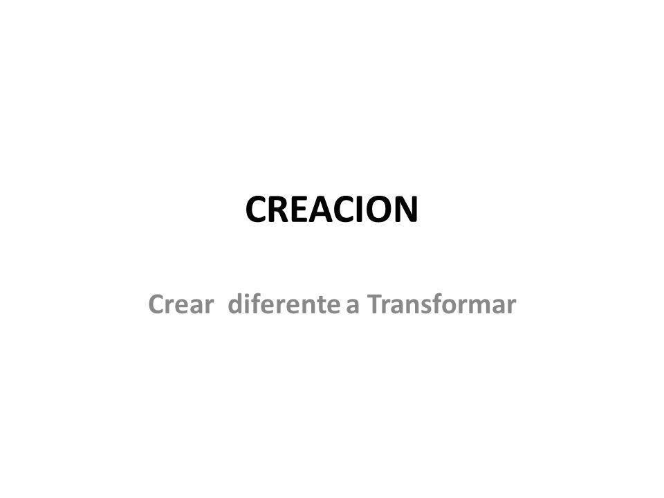CREACION Crear diferente a Transformar
