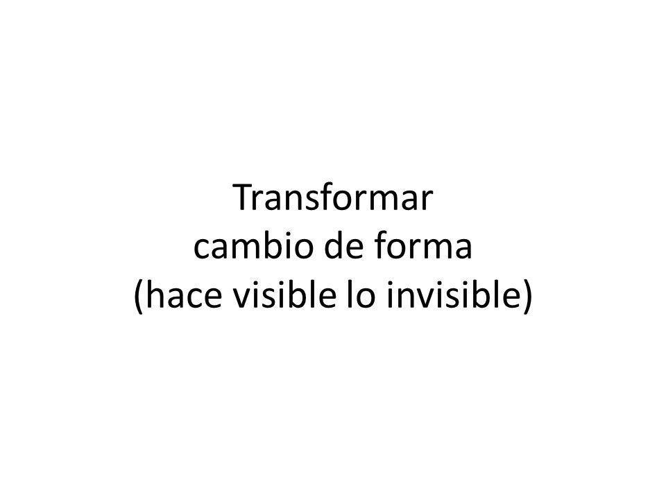 Transformar cambio de forma (hace visible lo invisible)