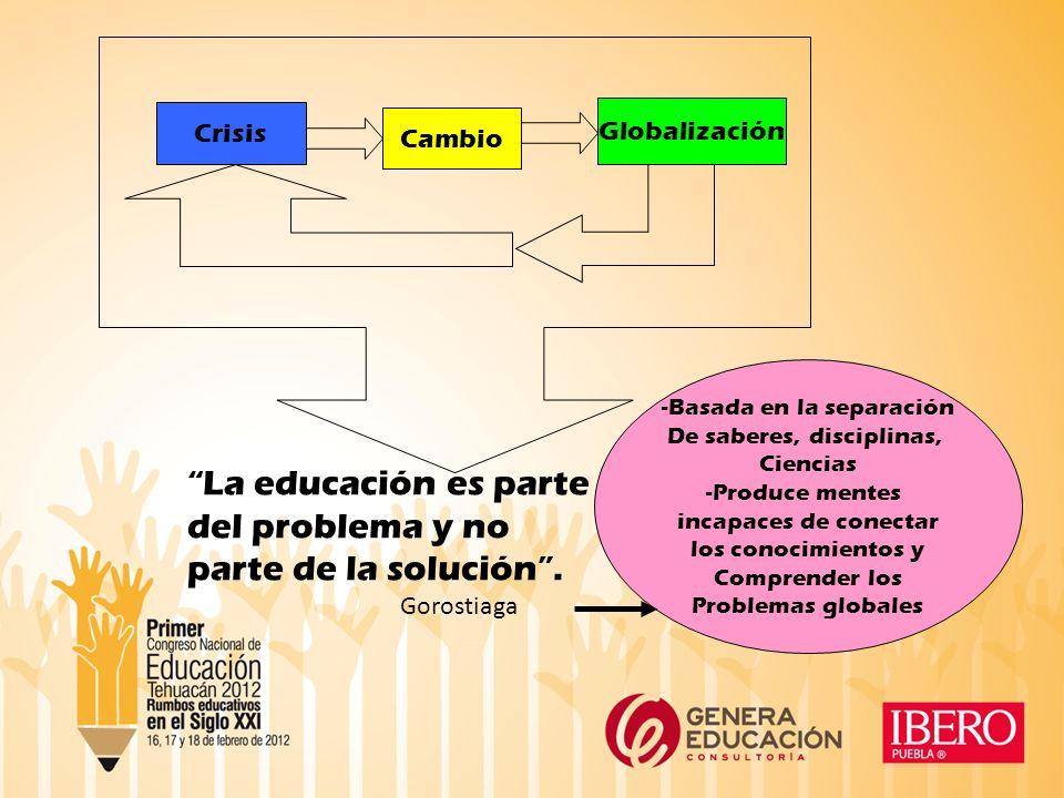Crisis Cambio Globalización La educación es parte del problema y no parte de la solución.