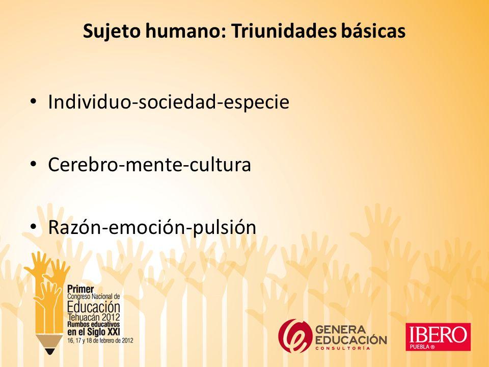 Sujeto humano: Triunidades básicas Individuo-sociedad-especie Cerebro-mente-cultura Razón-emoción-pulsión
