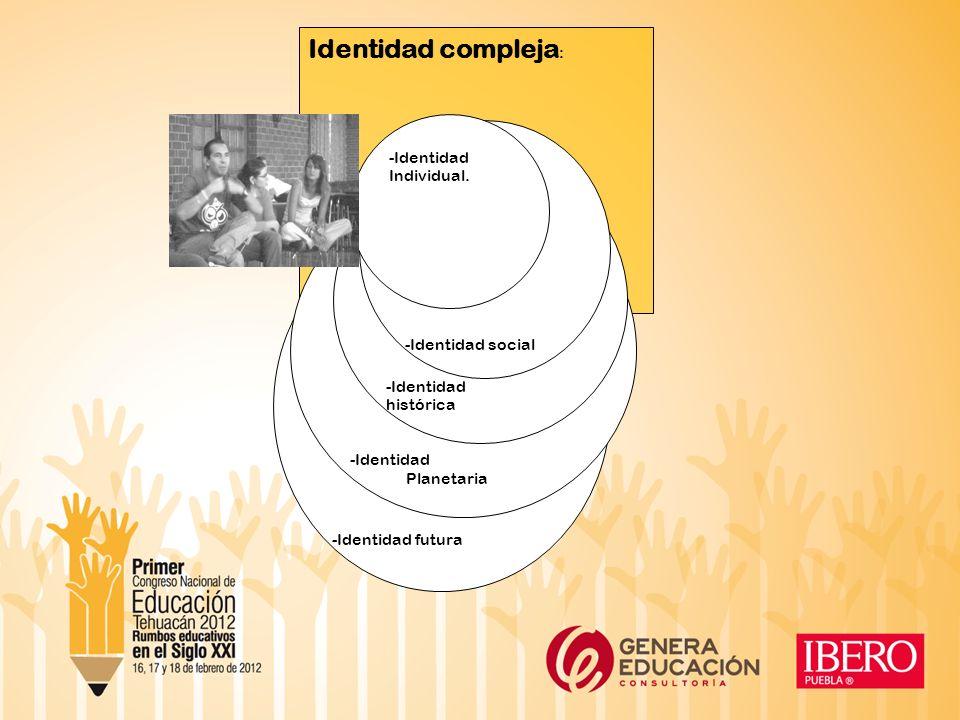 Identidad compleja : -Identidad futura -Identidad Planetaria -Identidad histórica -Identidad social -Identidad Individual.