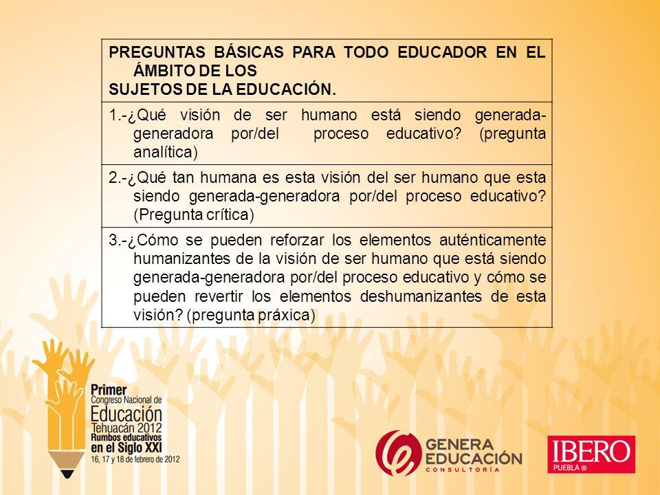 PREGUNTAS BÁSICAS PARA TODO EDUCADOR EN EL ÁMBITO DE LOS SUJETOS DE LA EDUCACIÓN.