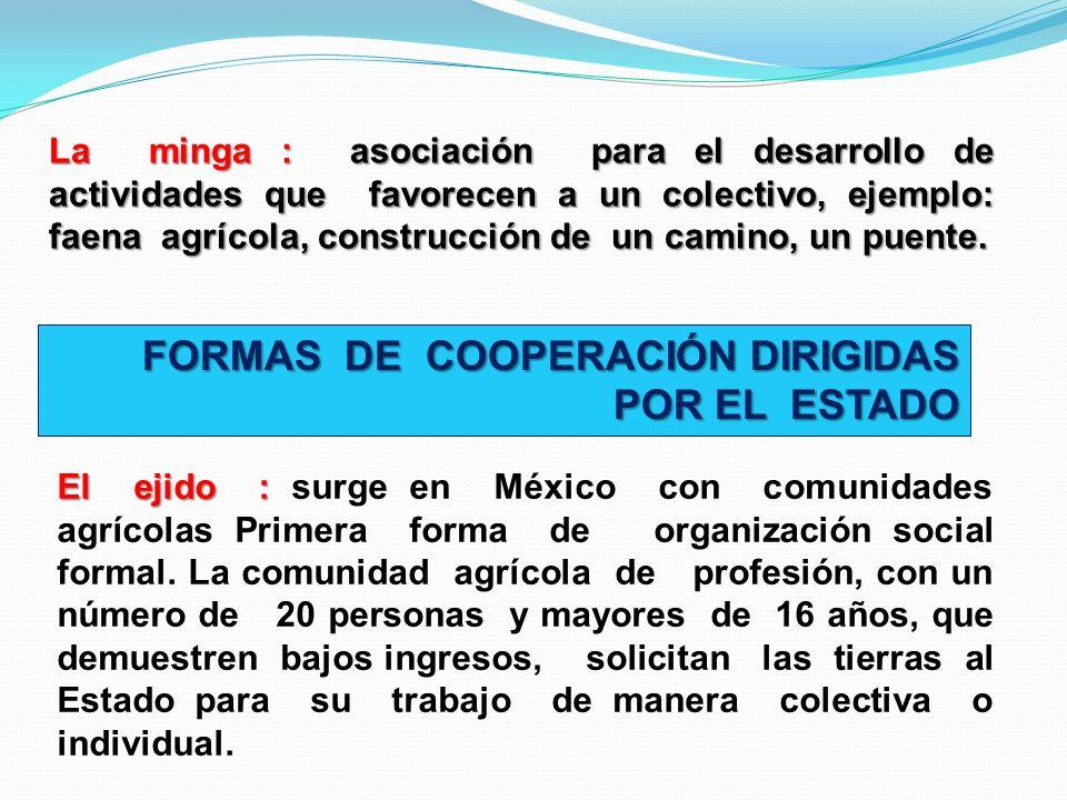 La minga : asociación para el desarrollo de actividades que favorecen a un colectivo, ejemplo: faena agrícola, construcción de un camino, un puente. F