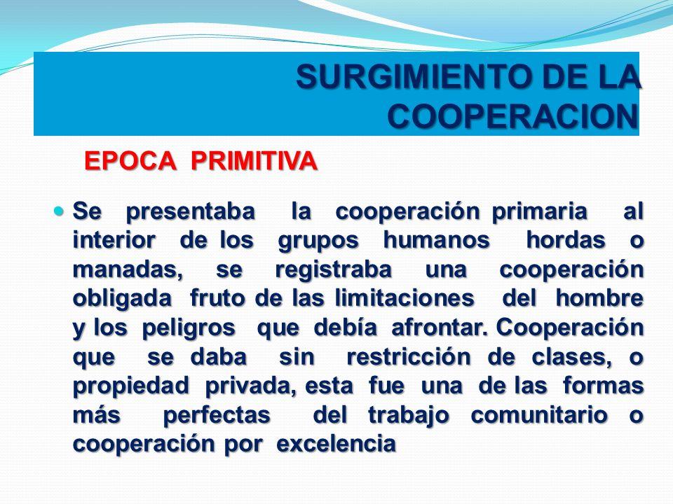 SURGIMIENTO DE LA COOPERACION Se presentaba la cooperación primaria al interior de los grupos humanos hordas o manadas, se registraba una cooperación