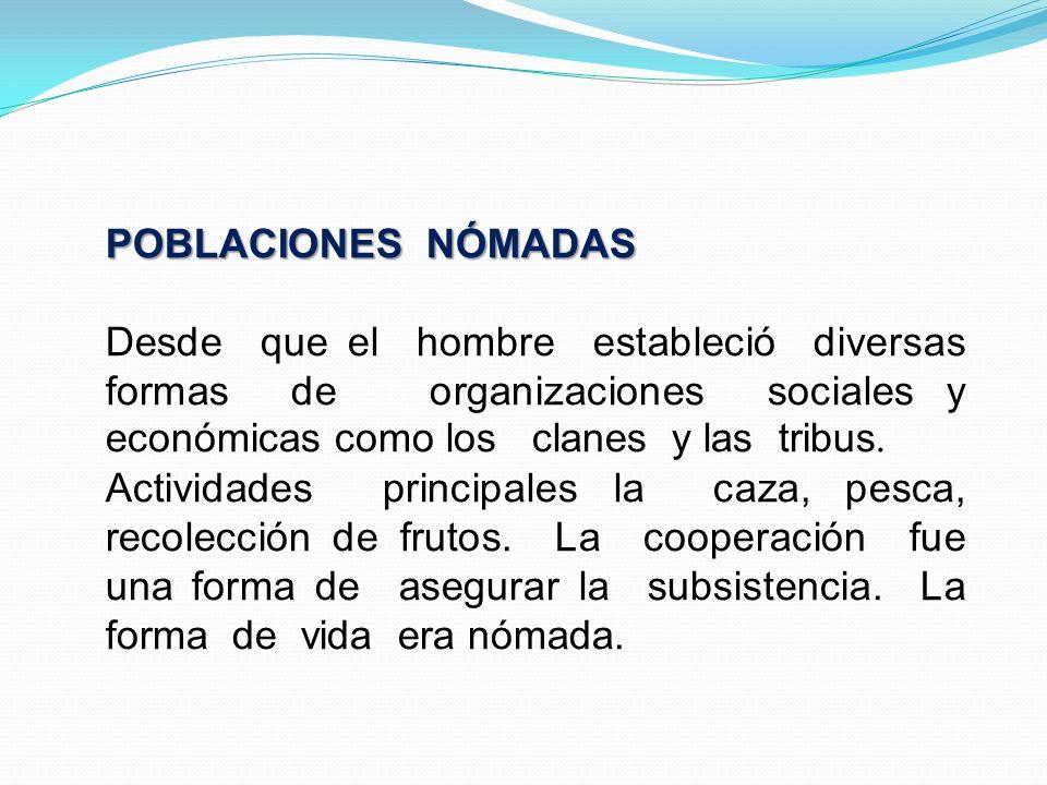 POBLACIONES NÓMADAS Desde que el hombre estableció diversas formas de organizaciones sociales y económicas como los clanes y las tribus. Actividades p