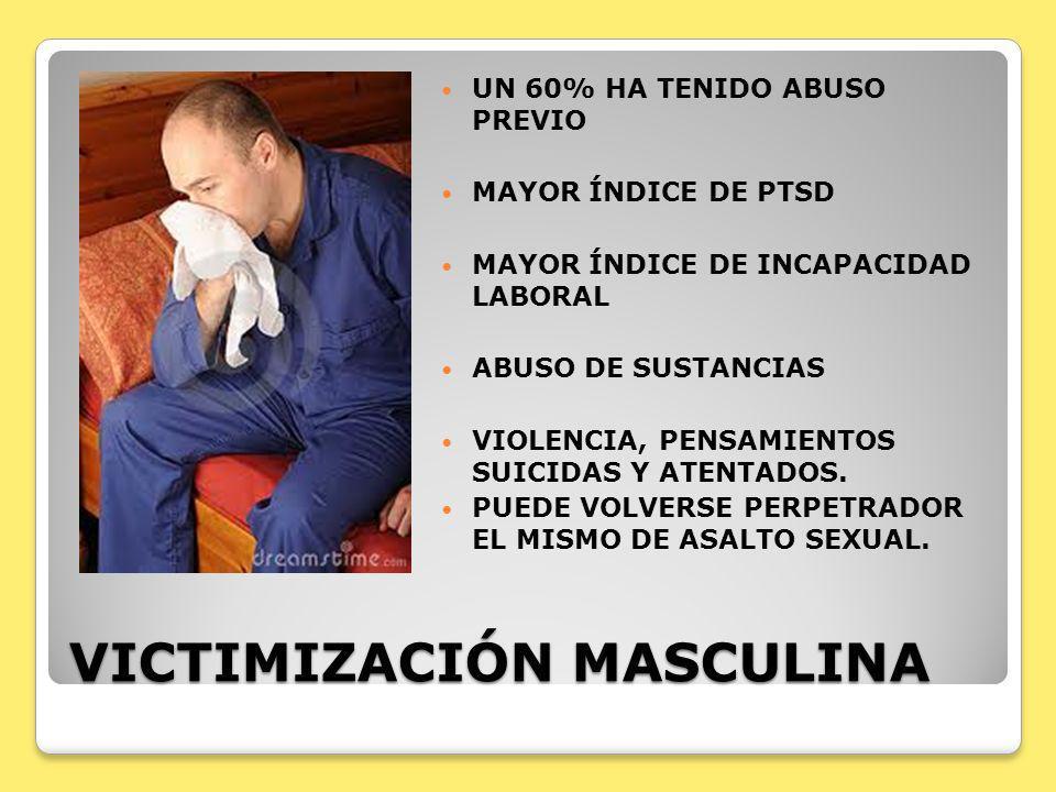 VICTIMIZACIÓN MASCULINA UN 60% HA TENIDO ABUSO PREVIO MAYOR ÍNDICE DE PTSD MAYOR ÍNDICE DE INCAPACIDAD LABORAL ABUSO DE SUSTANCIAS VIOLENCIA, PENSAMIE
