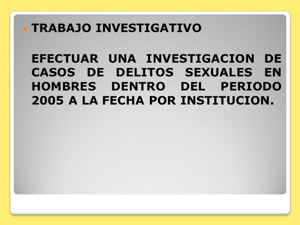 TRABAJO INVESTIGATIVO EFECTUAR UNA INVESTIGACION DE CASOS DE DELITOS SEXUALES EN HOMBRES DENTRO DEL PERIODO 2005 A LA FECHA POR INSTITUCION.