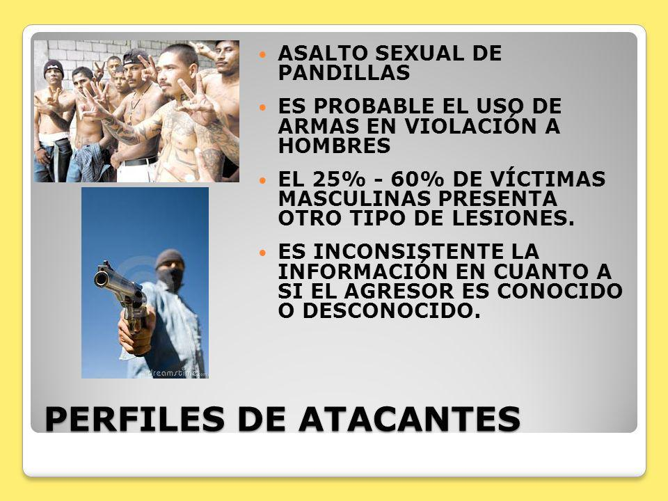 PERFILES DE ATACANTES ASALTO SEXUAL DE PANDILLAS ES PROBABLE EL USO DE ARMAS EN VIOLACIÓN A HOMBRES EL 25% - 60% DE VÍCTIMAS MASCULINAS PRESENTA OTRO