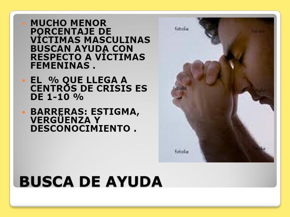 BUSCA DE AYUDA MUCHO MENOR PORCENTAJE DE VÍCTIMAS MASCULINAS BUSCAN AYUDA CON RESPECTO A VÍCTIMAS FEMENINAS. EL % QUE LLEGA A CENTROS DE CRISIS ES DE