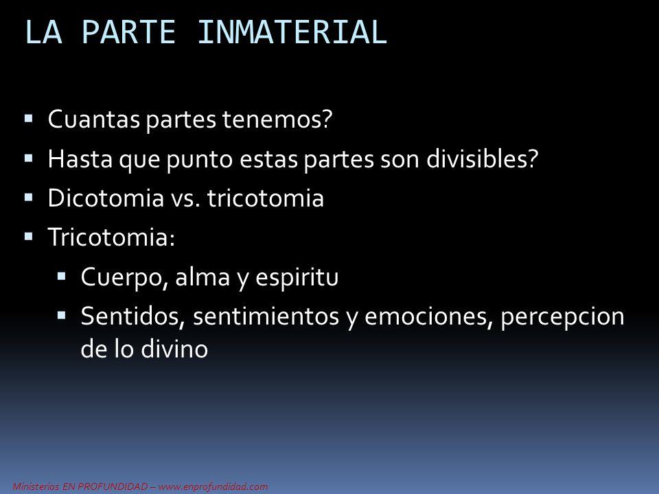 Ministerios EN PROFUNDIDAD – www.enprofundidad.com LA PARTE INMATERIAL Cuantas partes tenemos? Hasta que punto estas partes son divisibles? Dicotomia