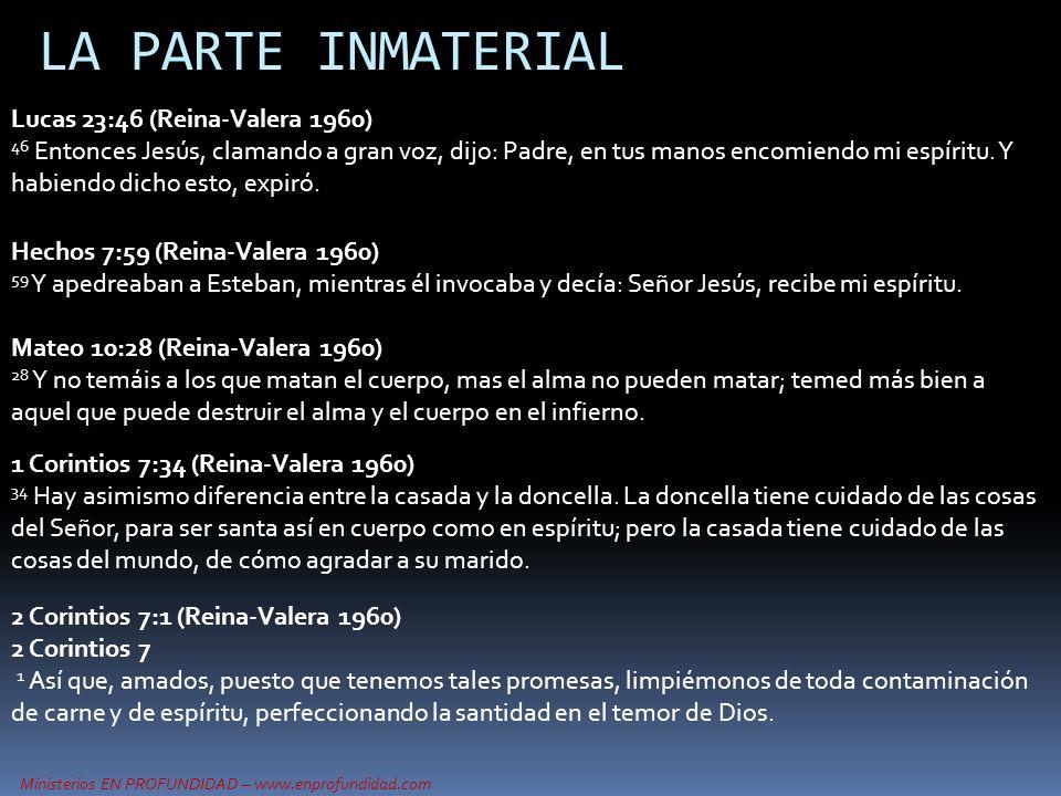 Ministerios EN PROFUNDIDAD – www.enprofundidad.com LA PARTE INMATERIAL Hechos 7:59 (Reina-Valera 1960) 59 Y apedreaban a Esteban, mientras él invocaba
