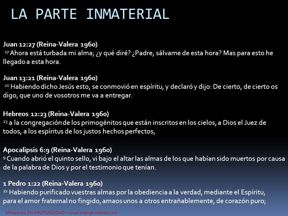 Ministerios EN PROFUNDIDAD – www.enprofundidad.com LA PARTE INMATERIAL Juan 12:27 (Reina-Valera 1960) 27 Ahora está turbada mi alma; ¿y qué diré? ¿Pad