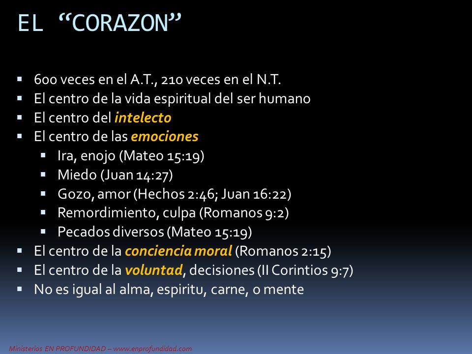 Ministerios EN PROFUNDIDAD – www.enprofundidad.com EL CORAZON 600 veces en el A.T., 210 veces en el N.T. El centro de la vida espiritual del ser human
