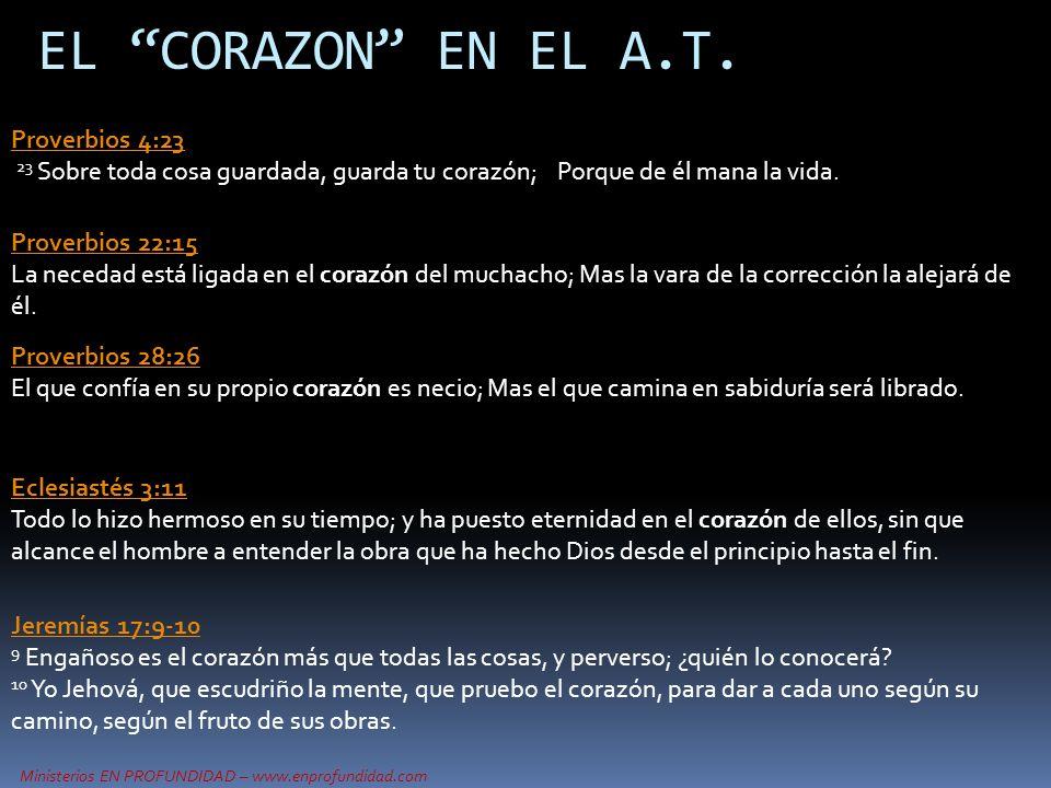 Ministerios EN PROFUNDIDAD – www.enprofundidad.com EL CORAZON EN EL A.T. Proverbios 22:15 Proverbios 22:15 La necedad está ligada en el corazón del mu