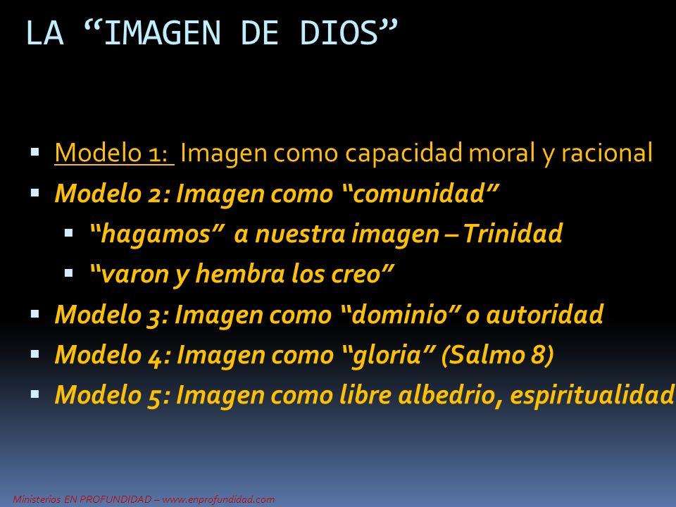 Ministerios EN PROFUNDIDAD – www.enprofundidad.com LA IMAGEN DE DIOS Modelo 1: Imagen como capacidad moral y racional Modelo 2: Imagen como comunidad