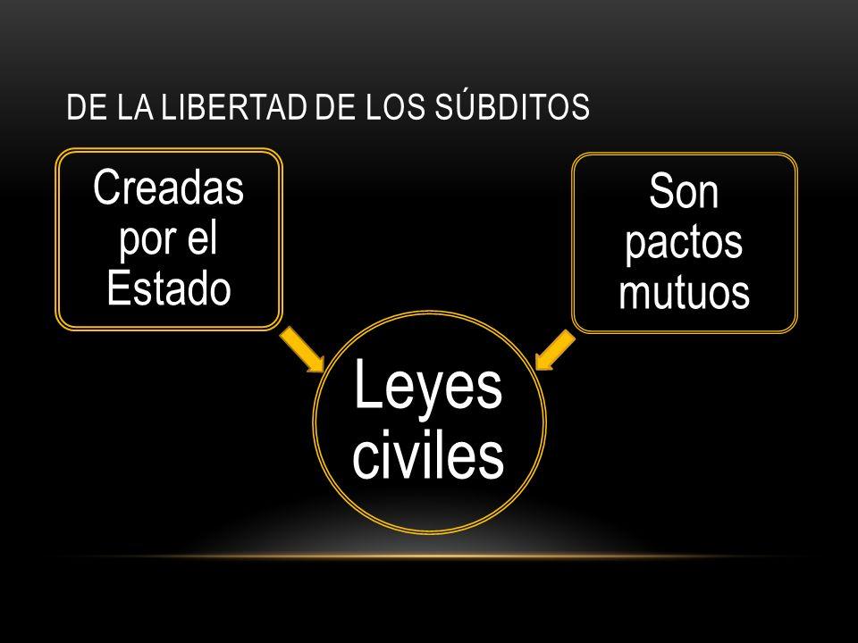 DE LA LIBERTAD DE LOS SÚBDITOS Leyes civiles Creadas por el Estado Son pactos mutuos