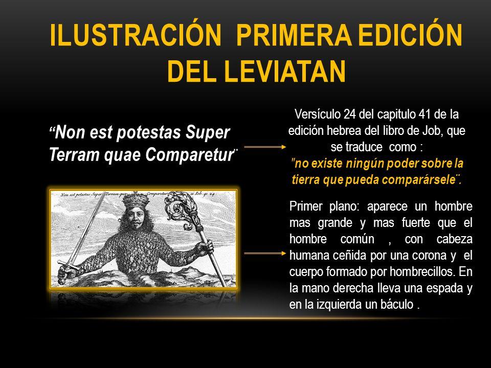 ILUSTRACIÓN PRIMERA EDICIÓN DEL LEVIATAN Non est potestas Super Terram quae Comparetur ¨ Versículo 24 del capitulo 41 de la edición hebrea del libro d