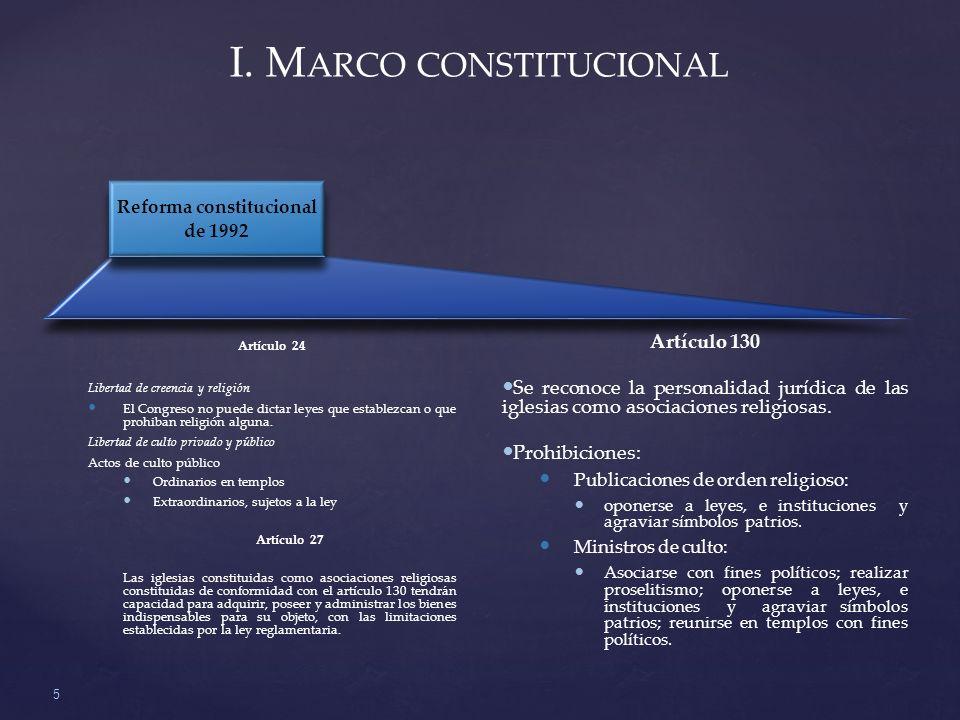 I. M ARCO CONSTITUCIONAL 5 Artículo 130 Se reconoce la personalidad jurídica de las iglesias como asociaciones religiosas. Prohibiciones: Publicacione