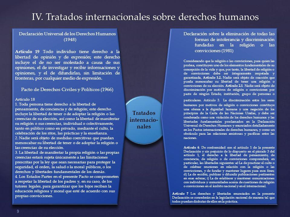 Tratados internacio- nales IV.