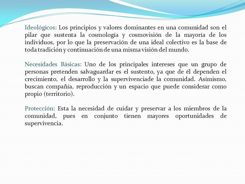 Ideológicos: Los principios y valores dominantes en una comunidad son el pilar que sustenta la cosmología y cosmovisión de la mayoría de los individuo
