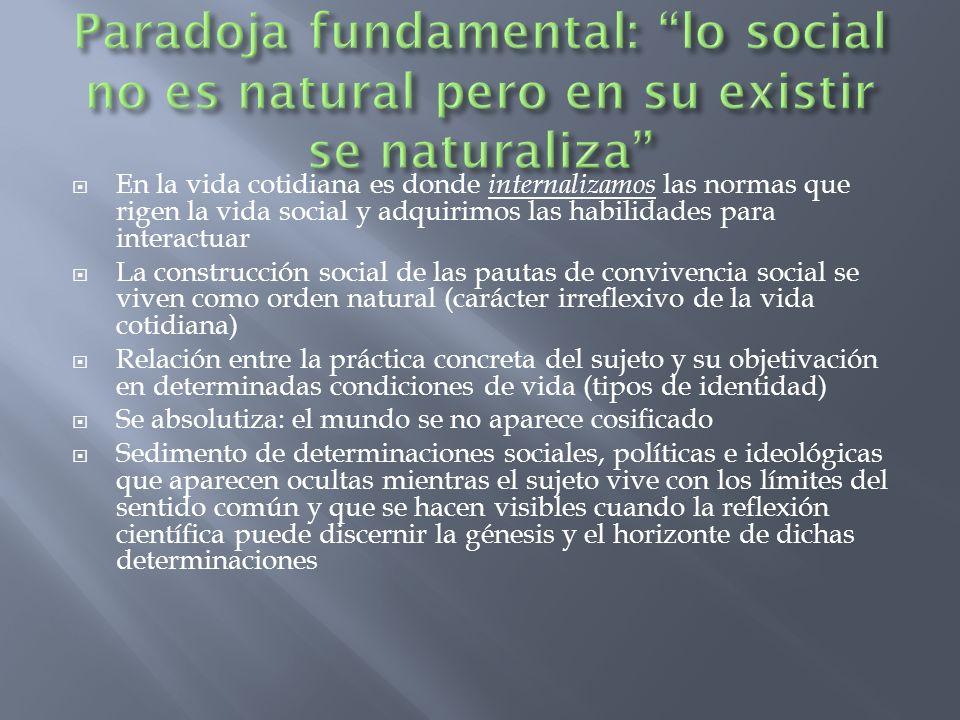 En la vida cotidiana es donde internalizamos las normas que rigen la vida social y adquirimos las habilidades para interactuar La construcción social
