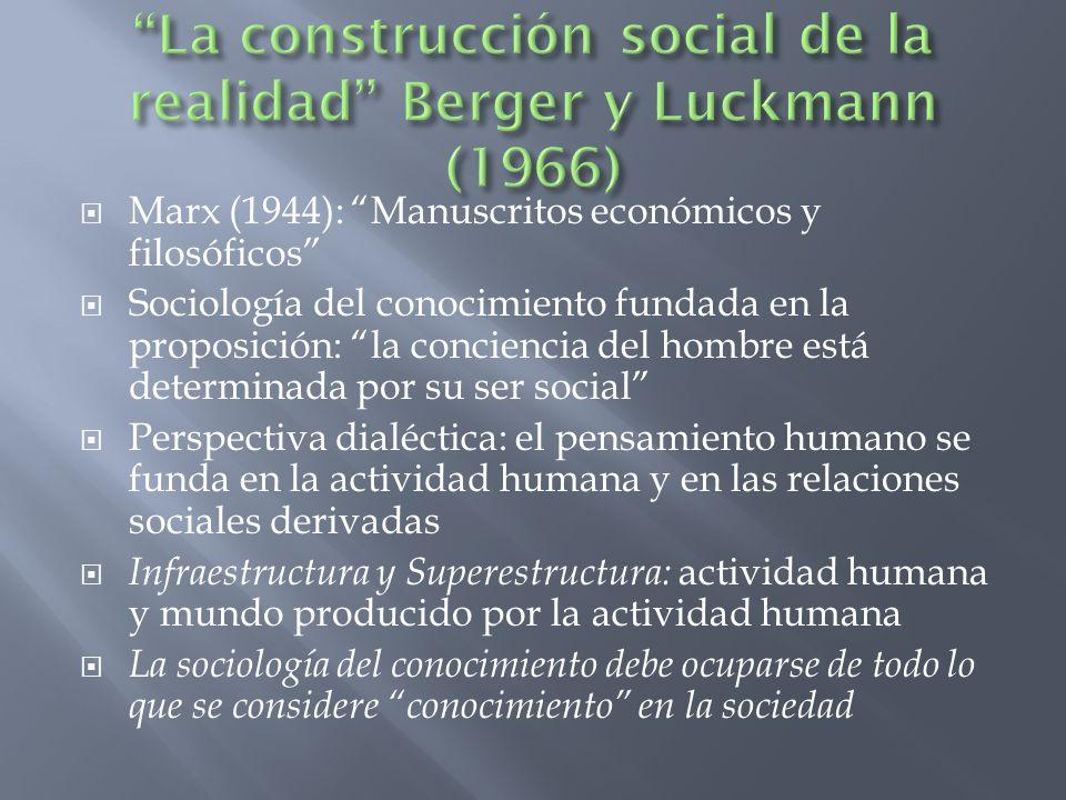 Marx (1944): Manuscritos económicos y filosóficos Sociología del conocimiento fundada en la proposición: la conciencia del hombre está determinada por