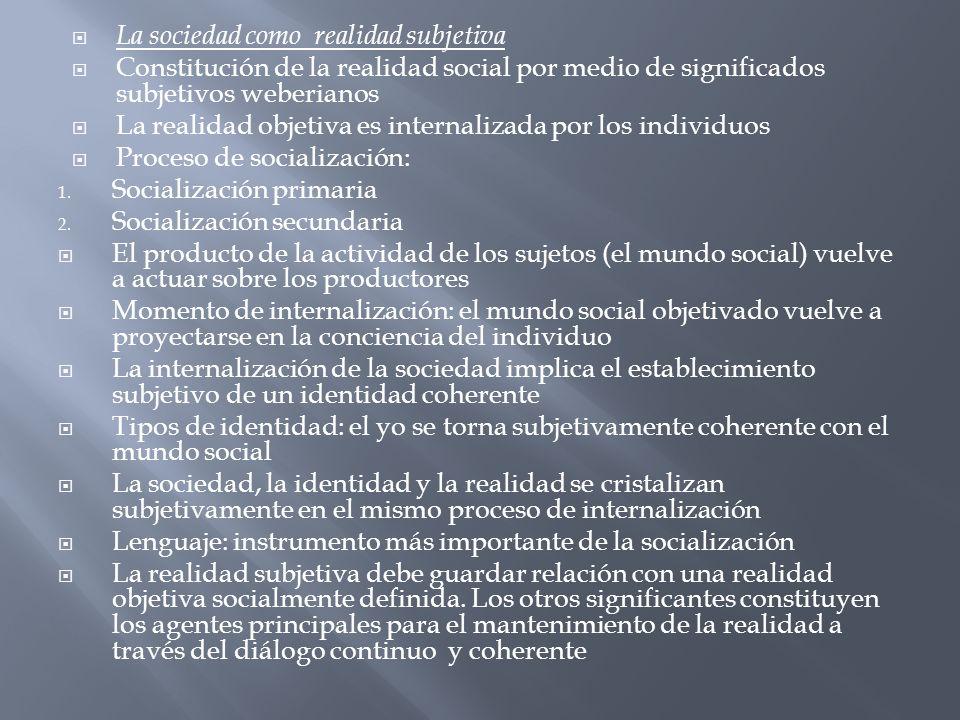 La sociedad como realidad subjetiva Constitución de la realidad social por medio de significados subjetivos weberianos La realidad objetiva es interna