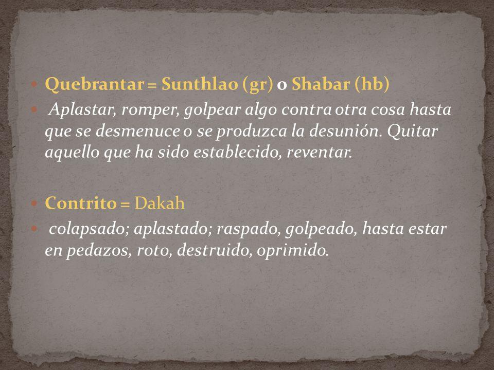 Quebrantar = Sunthlao (gr) o Shabar (hb) Aplastar, romper, golpear algo contra otra cosa hasta que se desmenuce o se produzca la desunión. Quitar aque
