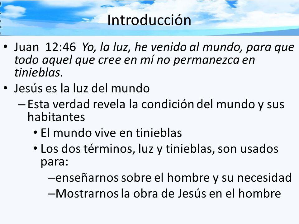 Introducción Juan 12:46 Yo, la luz, he venido al mundo, para que todo aquel que cree en mí no permanezca en tinieblas. Jesús es la luz del mundo – Est