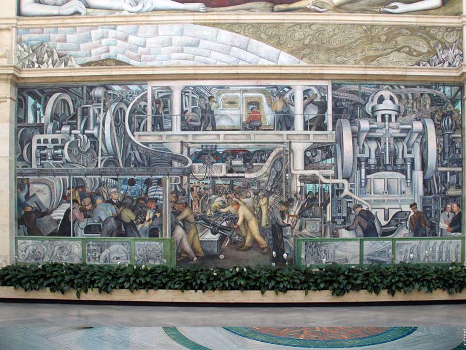 En 1930 Diego Rivera es un pintor famoso internacionalmente. Es invitado por Estados Unidos para hacer una exposición en NY. Finalmente se queda en US