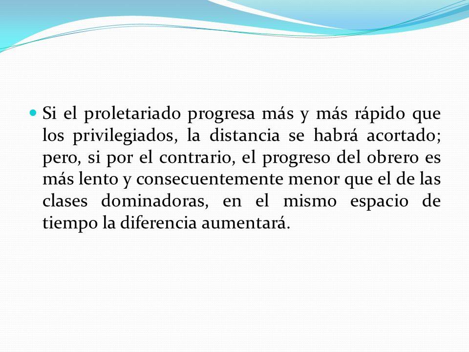 Si el proletariado progresa más y más rápido que los privilegiados, la distancia se habrá acortado; pero, si por el contrario, el progreso del obrero