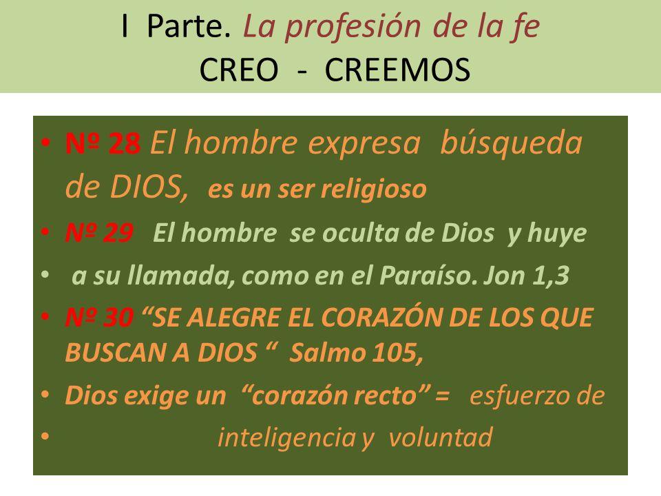 I Parte. La profesión de la fe CREO - CREEMOS Nº 28 El hombre expresa búsqueda de DIOS, es un ser religioso Nº 29 El hombre se oculta de Dios y huye a