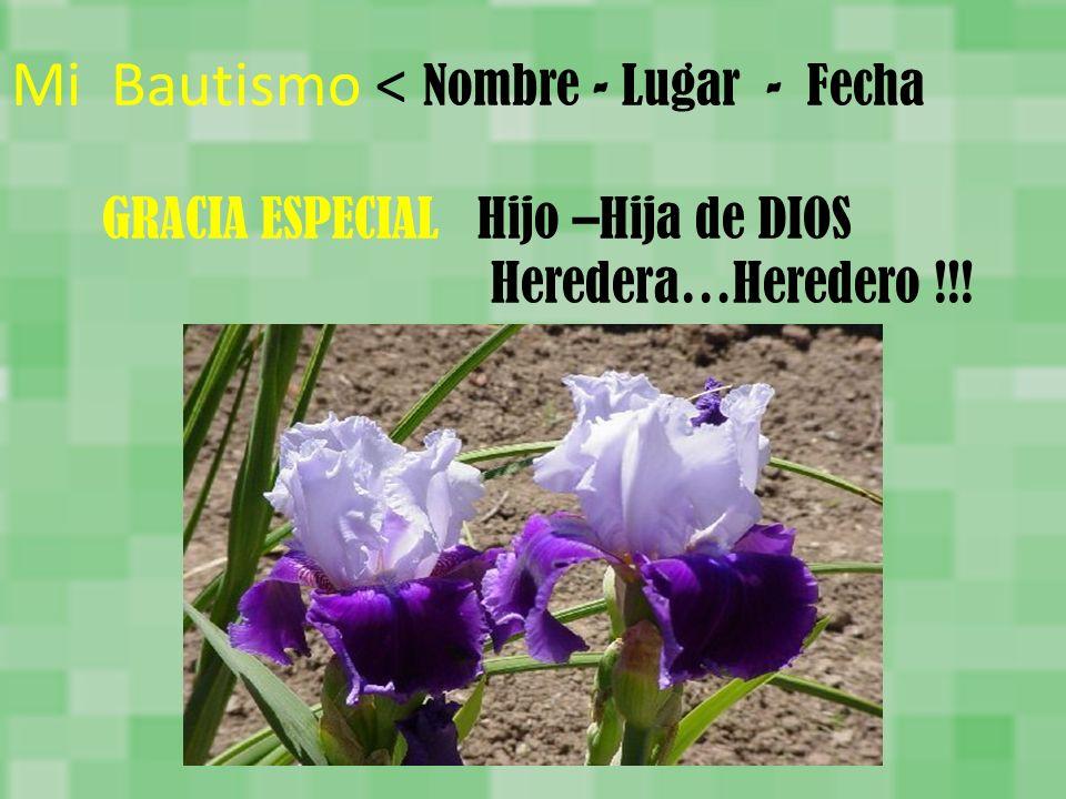 Mi Bautismo < Nombre - Lugar - Fecha GRACIA ESPECIAL Hijo –Hija de DIOS Heredera…Heredero !!!