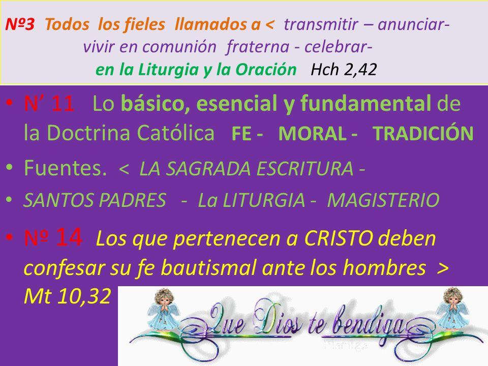 Nº3 Todos los fieles llamados a < transmitir – anunciar- vivir en comunión fraterna - celebrar- en la Liturgia y la Oración Hch 2,42 N 11 Lo básico, e