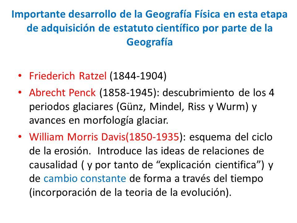 Importante desarrollo de la Geografía Física en esta etapa de adquisición de estatuto científico por parte de la Geografía Friederich Ratzel (1844-190